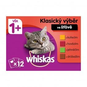Whiskas kapsičky pro dospělé kočky: klasický výběr ve šťávě