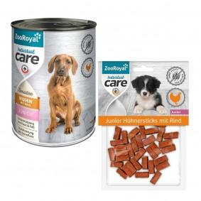 ZooRoyal Individual care Sensitive Junior Huhn+Reis 12x400g + Hühnersticks Rind 70g