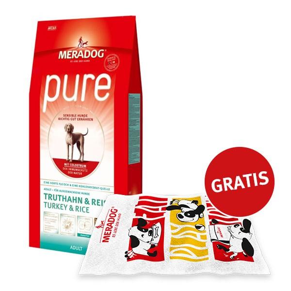Mera Dog pure Truthahn und Reis 12,5kg plus GRATIS Badehandtuch