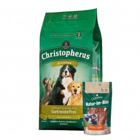 Christopherus Hundefutter Getreidefrei Ente + Kartoffel 12kg + Hundesnack GRATIS