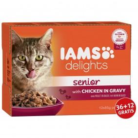 Iams Delights Multipack Senior Huhn in Sauce 12x85g 36+12 gratis