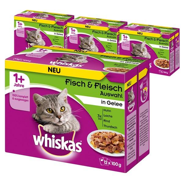 Whiskas Adult 1+ Fisch & Fleischauswahl in Gelee 36+12 Gratis (48x100g)