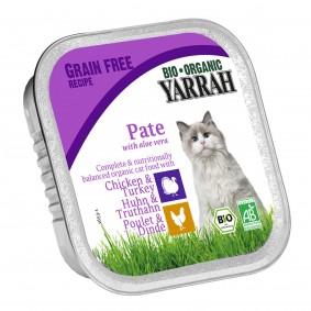 Yarrah Katzenfutter Bio Pate Huhn & Truthahn Aloe Vera 16x100g