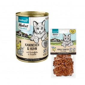 ZooRoyal Minkas Naturkost Kaninchen & Huhn 12x400g + Mini Sticks Huhn & Thunfisch 50g gratis