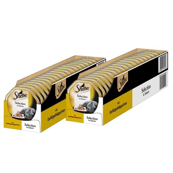 Sheba Katzenfutter Selection in Sauce Geflügelhäppchen 36+8 x85g gratis