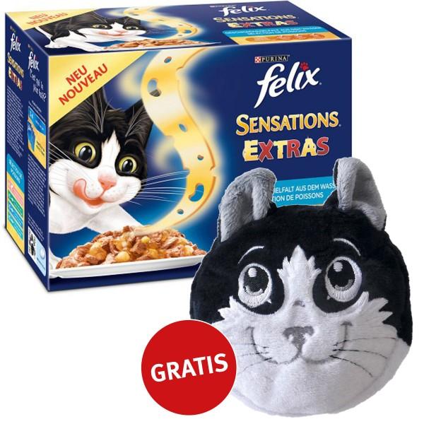 Felix Multipack Sensations Extras Geschmacksvielfalt aus dem Wasser 48x100g plus gratis Katzenkissen