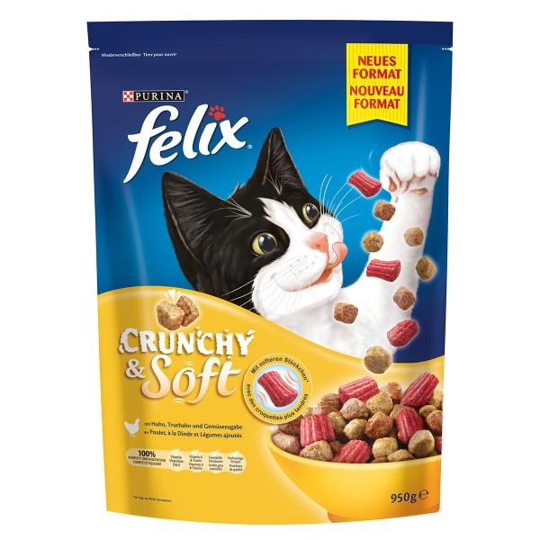 FELIX Trockenfutter Crunchy & Soft Huhn 950 g