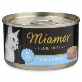 Miamor Feine Filets in Jelly Thunfisch und Shrimps 100g Dose