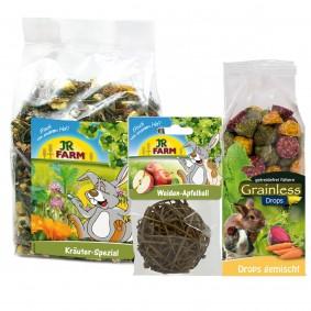 JR Farm Kräuter-Spezial 500g +  Weiden-Apfelball 15g + Grainless Drops gemischt 140g Sparpack