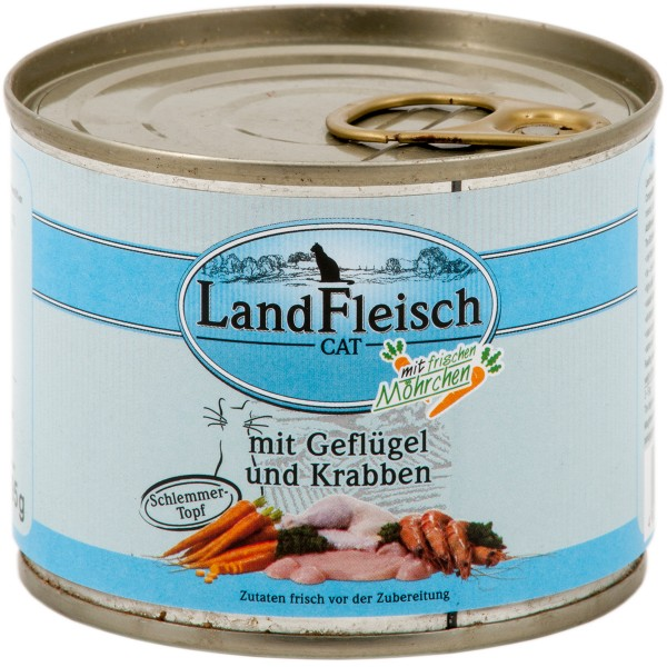 Landfleisch Cat Katzenfutter Schlemmertopf Geflügel & Krabben