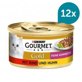 GOURMET Gold Feine Komposition Katzennassfutter mit Rind & Huhn