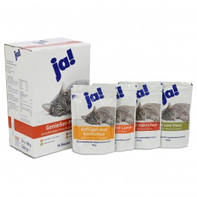 ja! Katzenfutter verschiedene Fleischsorten in Sauce 14x100g
