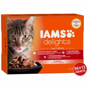 Iams Delights Multipack Land Collection in Sauce 12x85g 36+12 gratis