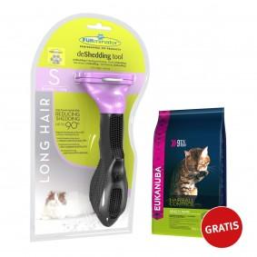FURminator deShedding Tool Langhaar S + Eukanuba Katze Anti Hairball 400g GRATIS
