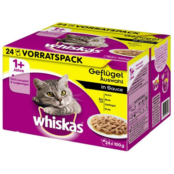Whiskas 1+ Geflügelauswahl in Sauce Multipack 24x100g