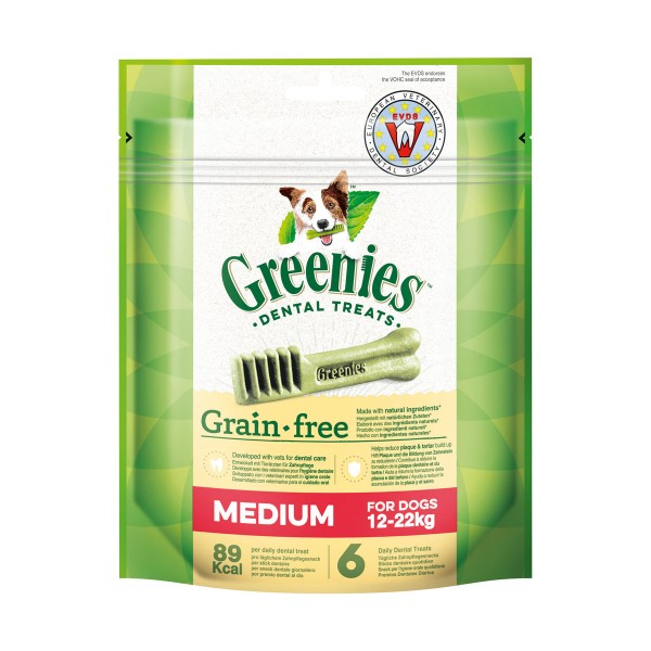 Greenies Grain Free Medium Zahnpflegesnacks für Hunde von 11-22kg - 170g