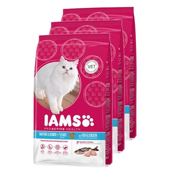 IAMS Katzenfutter Trockenfutter Mature & Senior Fisch 3x2,55kg