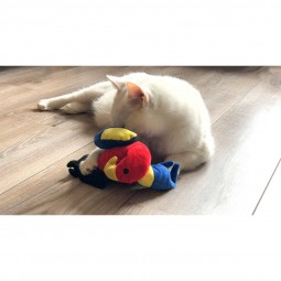 Aumüller Papagei Polly Katzenspielkissen mit Baldrianwurzel und Dinkelspelz