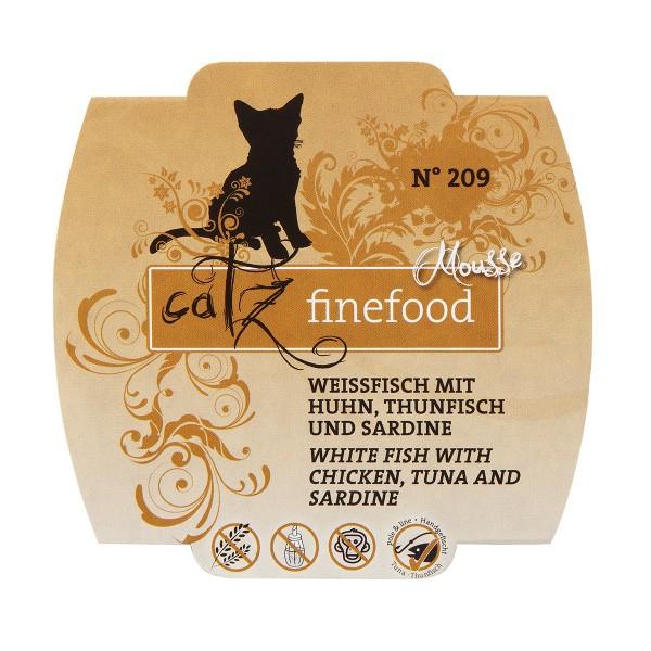 Catz finefood Mousse N°209 Weissfisch mit Huhn, Thunfisch und Sardine 100g