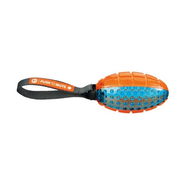 Trixie Push to mute Rugby am Gurt 12 cm/27cm orange/blau