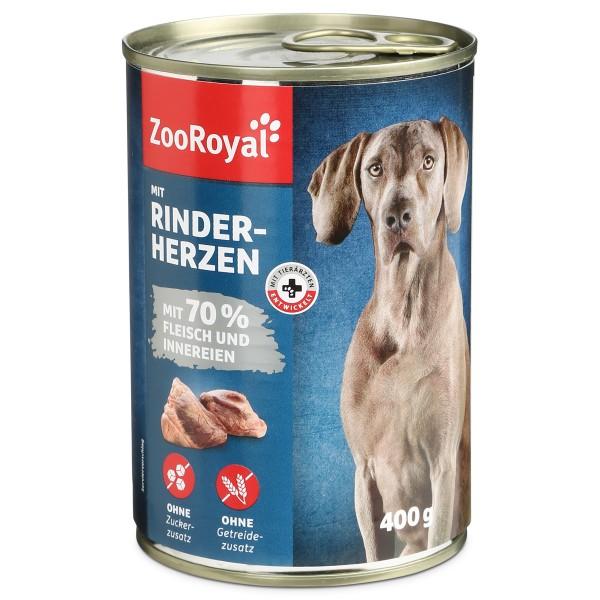 ZooRoyal Hunde-Nassfutter mit Rinderherzen - 400g