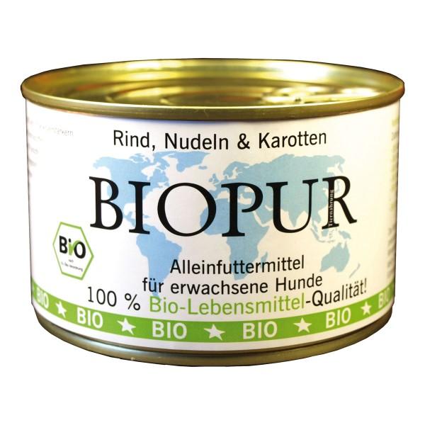 BIOPUR Hundefutter Bio Rind, Nudeln und Karotte...