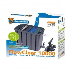 SuperFish FlowClear Set Biologischer Dreikammerfilter 10.000 + Pumpe