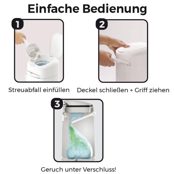 LitterLocker® Fashion Katzenstreu-Entsorgungseimer mit Stoff-Bezug Cat paws grey