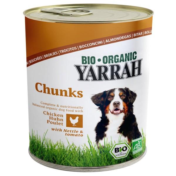 Yarrah Hundefutter Bio Bröckchen Huhn Brennessel und Tomate 24x820g