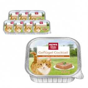 REWE Beste Wahl Katzenfutter Geflügel Cocktail  mit Ente und Truthahn