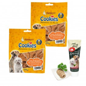 Hansepet Cookies Hühnchen-Reis-Knochies 2x200g + Tubidog Leberwurst gratis