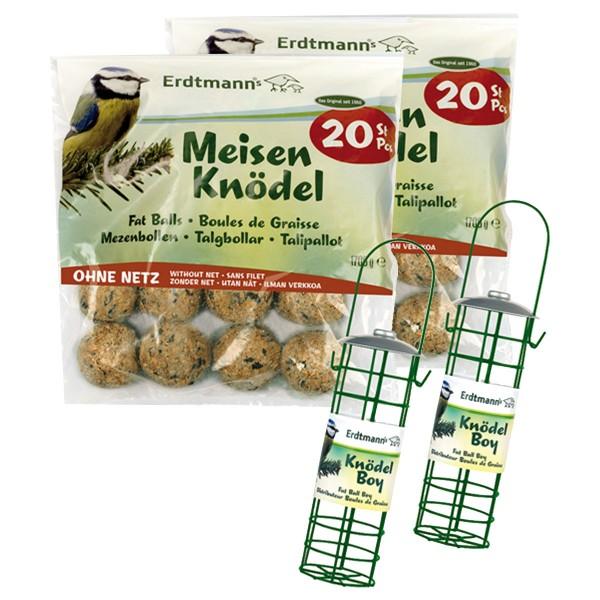 Erdtmann's 40 Meisenknödel ohne Netz + 2 Knödelboy Futterspender