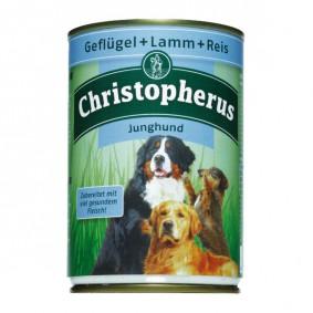Christopherus Fleischmahlzeiten Junghund Geflügel + Lamm + Reis 400g