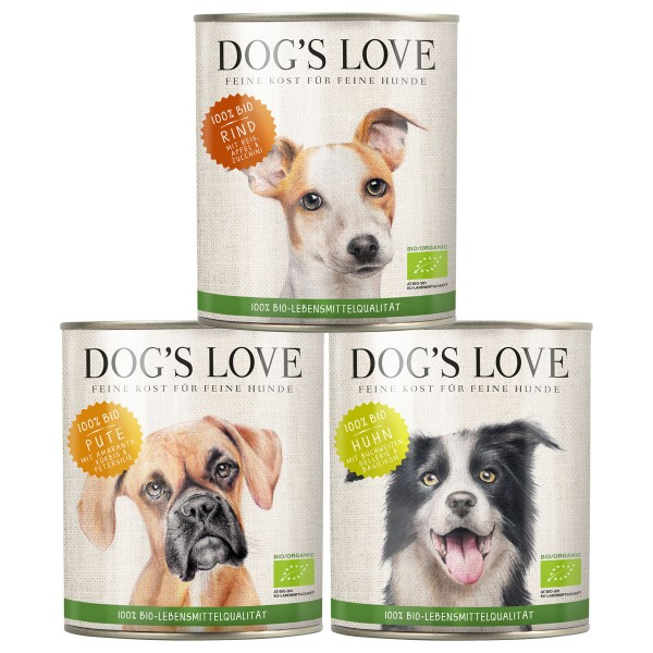 Dog's Love Hunde-Nassfutter Bio Mixpaket Rind, Huhn, Pute 18x200g