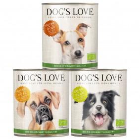 Dog's Love Bio Mixpaket Rind, Huhn, Pute 18x800g