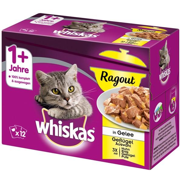 Whiskas Adult 1+ Ragout Geflügelauswahl in Gelee 12x85g