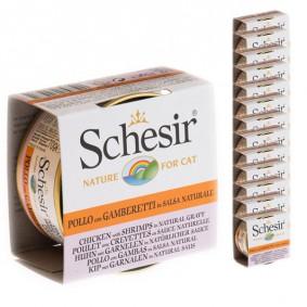 Schesir Katzenfutter Natural Sauce Huhn-Garnele 14x70g