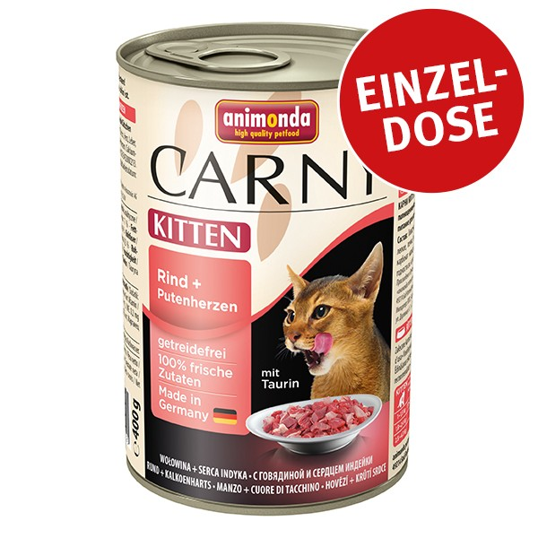 Animonda Katzenfutter Carny Kitten Rind und Putenherzen 400g