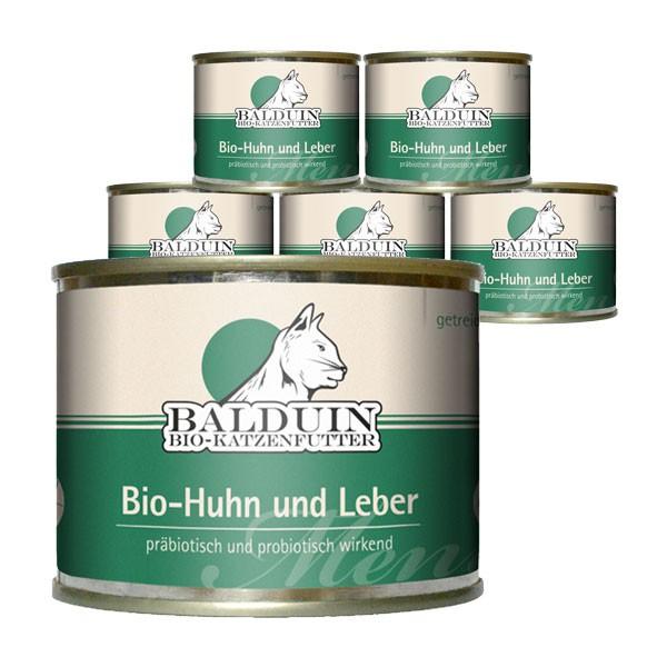 Balduin Katzenfutter Bio Menü Huhn und Leber 6x200g