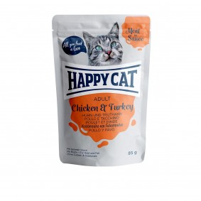 Happy Cat kapsičky – Meat in Sauce Adult kuřecí a krocaní maso