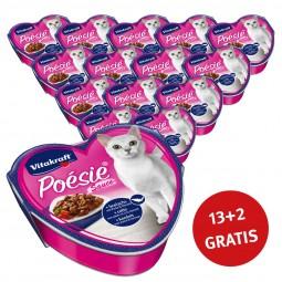 Vitakraft Katzenfutter Poésie Sauce mit Seelachs und Tomate 15x85g 13+2 Gratis