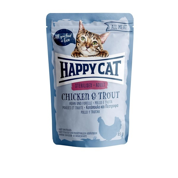 Happy Cat Pouches - All Meat Sterilised Huhn & Forelle