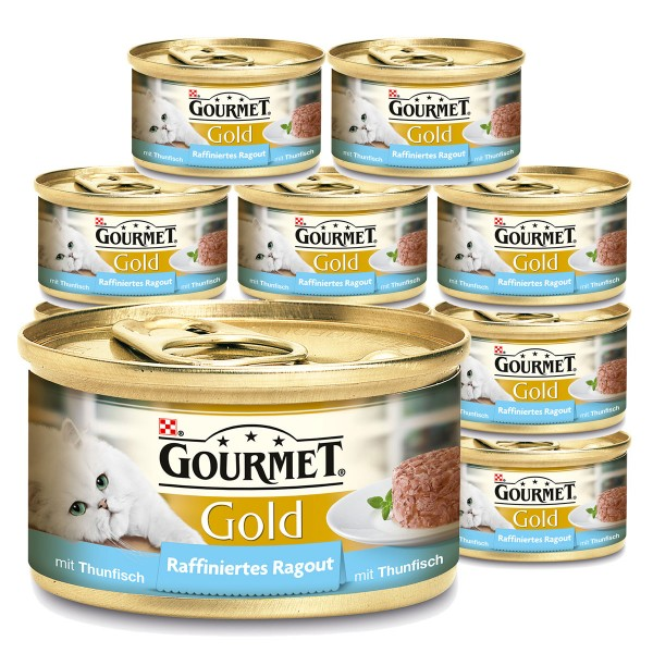 gourmet katzenfutter gold raffiniertes ragout thunfisch 12x85g. Black Bedroom Furniture Sets. Home Design Ideas