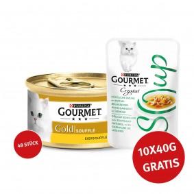 Gourmet Gold Soufflé Huhn 48x85g + Crystal Soup mit Huhn und Gemüse 10x40g GRATIS!