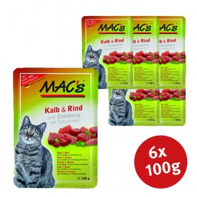 Pro Pet MAC´´s Cat Katzenfutter Pouchpack Kalb, Rind und Cranberry - 6x100g Sale Angebote Kröppen