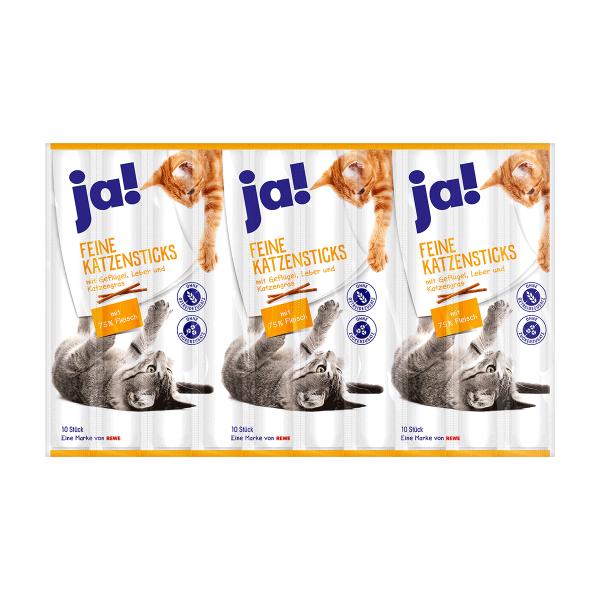 ja! Katzensticks mit Geflügel, Leber & Katzengras