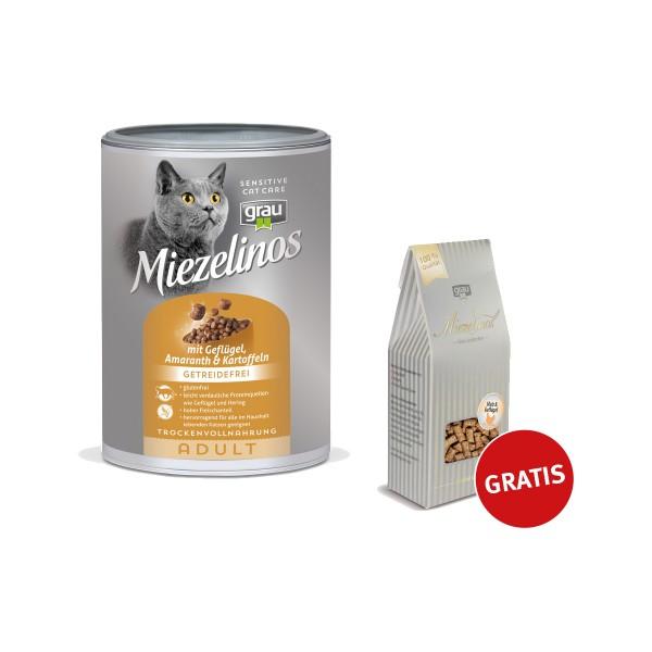 Grau Miezelinos Adult mit Gefügel und Kartoffeln 400g plus Miezelinos Snack 80g gratis