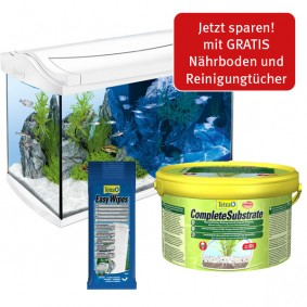 Tetra Einsteigerset AquaArt LED Weiß 60L + Complete Substrate 2,5kg+ Easy Wipes