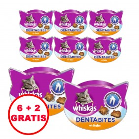 Whiskas Katzensnacks Dentabites mit Huhn 40g 6 plus 2 gratis