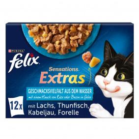 FELIX Sensations Extras Geschmacksvielfalt aus dem Wasser mit Käse oder Bacon in Gelee 12x85g